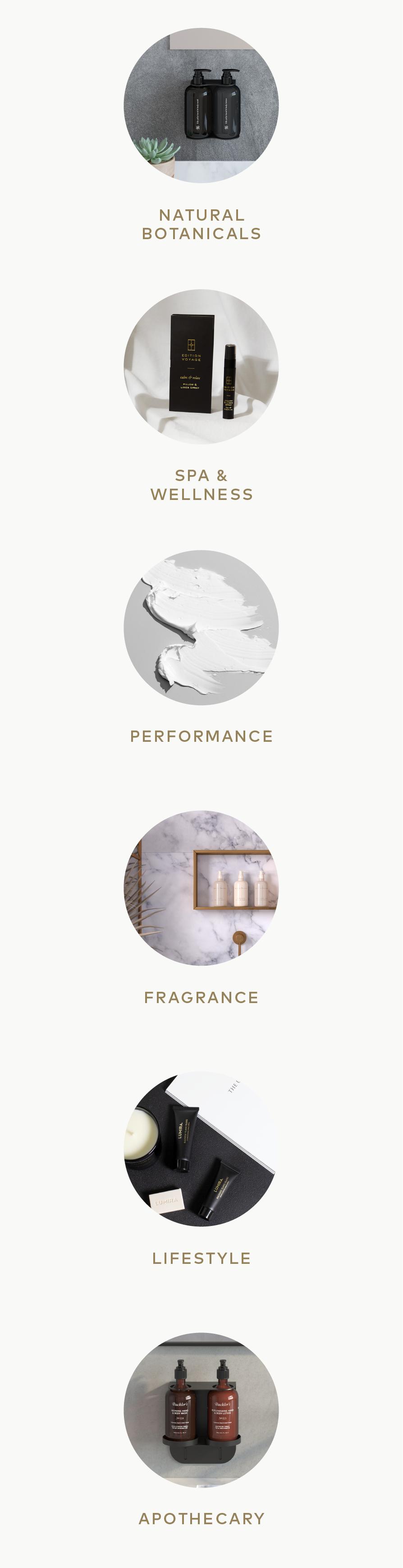 Hotel Portfolio - Botanicals, Performance, Lifestyle, Spa and Wellness, Fragrance, Apothecary